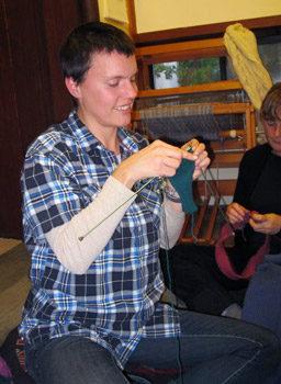 Lauren Dito Keith: �I taught myself out of a book in 2006, but knitted only scarves until six months ago, when I made my first hat.� Now she is finishing a pair of fingerless gloves, as one of several gift projects.