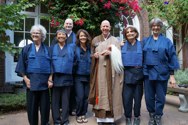 Abbot Rinso Ed Sattizahn with six students he lay ordained last Saturday in a Jukai Ceremony at City Center. L to R: Meredith Bruce, Trudy Tang, Kristopher Thomson, Celeste Perry, Ed, Jeri Marlow, Abby Wasserman. (Photo: Marcus Marchesseault.)