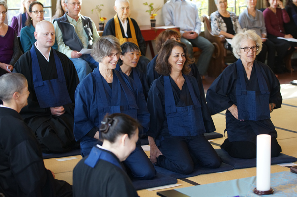 Lydia Linker (bottom, facing right) assists the ordinands in last Saturday's Jukai. (Photo: Marcus Marchesseault.)