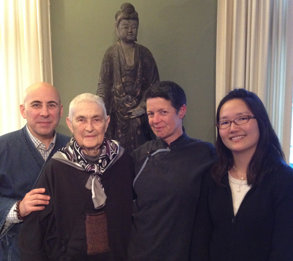 L-R: David Zimmerman (Program Director), Blanche Hartman (Senior Dharma Teacher), Djinn Gallagher (Meditation Hall Manager), and Jennifer Orr (Senior Development Associate).