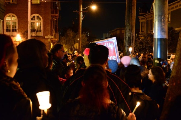The vigil, following the march to the site of the shooting, across from City Center.