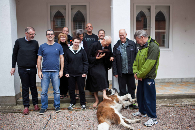 Paul with with Cooper the St. Bernard and students after a sesshin in August 2014 at Benburb.