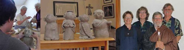 Making Jizo statues; a few sangha members with Bruce Fortin.