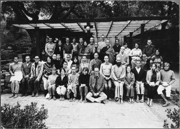 Group of students at Tassajara in the fall 1967, with Suzuki Roshi (center) and Kobun Chino Roshi (behind). If you were there too, can you spot Dot? (Photo by Minoru Aoki.)
