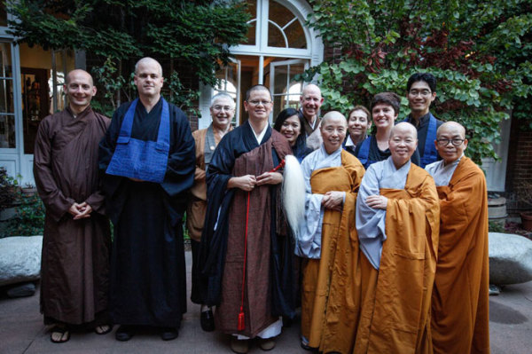 With guest monastics from Vietnamese traditions, and City Center teacher Shosan Victoria Austin, who assisted with the ceremony.