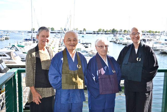 Teachers of MZC, L to R: Reirin Gumbel (new teacher), Tozen Akiyama (first teacher), Tonen O�Connor (second teacher) and Hoko Karnegis (interim director).