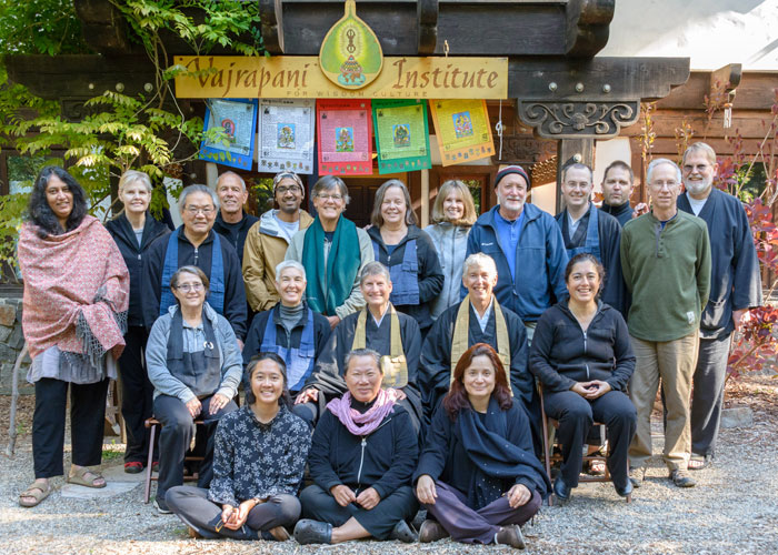 The sangha at Vajrapani Institute, a local Buddhist retreat center in the redwoods, with Misha Merrill (center) and Jill Kaplan (center right).