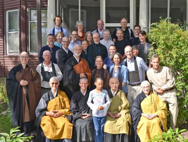 MZC sangha, with Reirin's teacher, Green Gulch Abiding Abbess Fu Schroeder (seated left), and Green Gulch resident Hakusho Ostlund (third row, second from left).