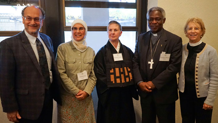"Interfaith panel (L-R): Rabbi Allan Berkowitz, executive director of Environmental Volunteers; Ameena Jandali, co-founder and content manager of Islamic Network Group; Cardinal Peter Turkson, a Ghanian cardinal who is president of the Pontifical Council for Justice and Peace; Abbess Eijun Linda Cutts; and Rev. Canon Sally Bingham, the president and founder of Interfaith Power and Light. Cardinal Turkson, the keynote speaker for the conference, is widely acknowledged as one of the most influential Vatican experts on the content of the historic encyclical ""Laudato Si,"" which focuses on the environment and the crisis of climate change."