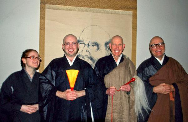 L to R: Stacey Greenblatt (benji, or attendant to shuso), Zenkai Curtis Fabens, Abiding Abbot Ed Sattizahn, Tassajara Tanto Greg Fain.