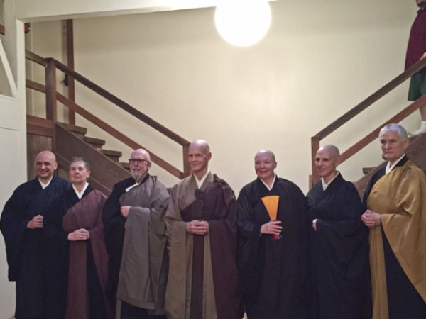L to R: Outgoing Green Gulch Tanto Yo-on Jeremy Levie, Central Abbess Eijun Linda Cutts, Taiyo Lipscomb, Senior Dharma Teacher Tenshin Reb Anderson, Hogetsu Laurie Belzer, attendant, Abiding Abbess Furyu Schroeder.