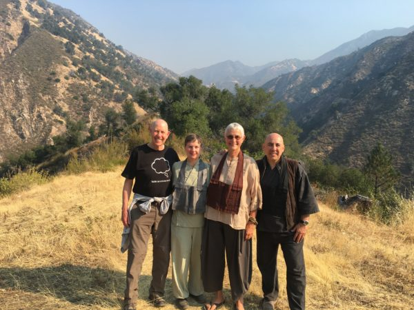 Senior teachers visiting Tassajara yesterday: City Center Abbot Ed Sattizahn, Central Abbess Linda Ruth Cutts, Green Gulch Abbess Fu Schroeder, and City Center Tanto David Zimmerman (one of our 2008 fire monks).