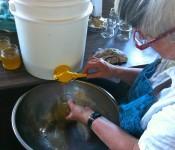 Bottling Honey: Marcia pours