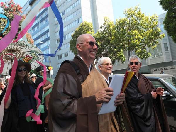 Former Central Abbot Steve St�cky with Abbess-Elect Fu Schroeder and Abbot-Elect Ed Sattizahn, on the 50th Anniversary procession from Sokoji in Japantown to City Center in August 2012.
