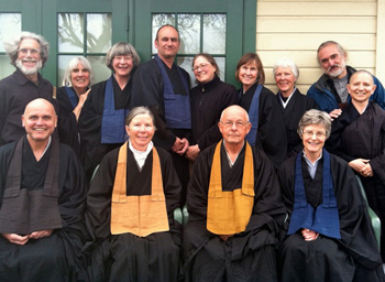 The sangha on Buddha's Birthday, with Etsudo Patty Krahl and Jintei Harold Little (center), and Tendo Stacy Waymire (bottom left) and Kigetsu Ramana Waymire (far right, middle).