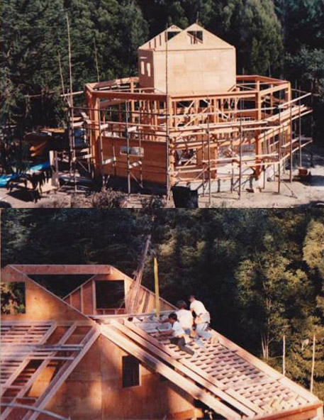 """Early construction photos (1970s). As reported by original builder Paul Discoe in the book Zen Architecture: The Building Process as Practice: """"We foolishly decided to blend the roof plans from octagonal to round. This turned out to be much more difficult than we imagined. Many mistakes later, we found out how to precut the shingles in the shop and make curved templates to align the courses. Years later this study was useful in other projects. �In the end, the structure became an integrated whole that could be felt as one pattern but could not be easily understood."""""""