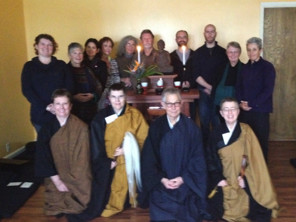 The sangha, with teachers Daijaku Kinst (front, far right) and Shinshu Roberts (front, second from left).