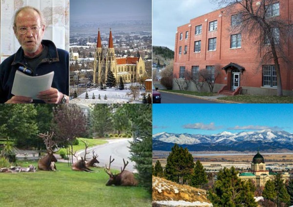 Clockwise: David Cooper, St. Helena Cathedral, Immaculata Hall, elk taking it easy in Helena, and the State Capitol.