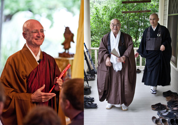 Kosho McCall in a new robe sewn for the occasion; Hoitsu Suzuki Roshi and Shungo Suzuki (Shunryu Suzuki's son and grandson).