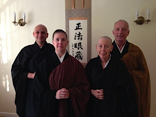 With sangha members assisting in the private ceremonies last weekend�from left: Jeremy Levie (served as jisha, or attendant to the abbess), Eijun Linda Cutts, Jisan Tova Green, and Steve Weintraub (preceptor/instructor).