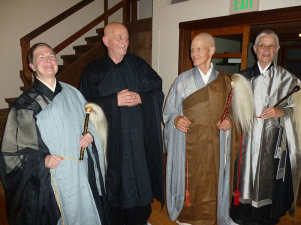 (L-R) Central Abbess Eijun Linda Cutts, Myoyu Malvern Costelloe, Senior Dharma Teacher Tenshin Reb Anderson and Abiding Abbess at Green Gulch Farm Furyu Schroeder (photo: Carolyn Cavanagh)