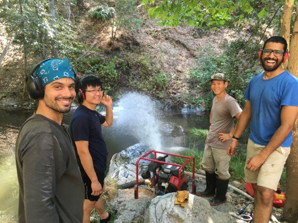 Training on Cabarga Creek pump with Bradley Higbie, Kevin Peng, Hiro Ikushima, and Nick Shah. Photo: Greg Fain