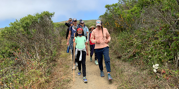 Hikers on path