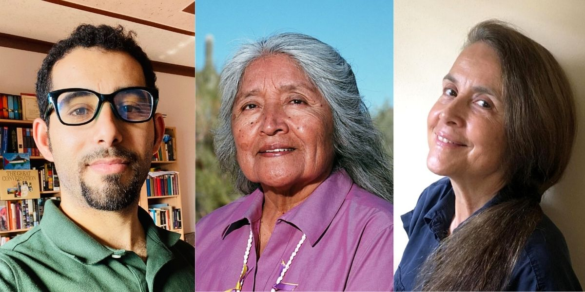Portraits of three people in article